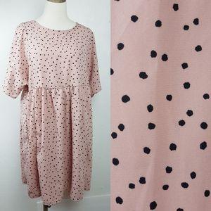 Polka Dot Babydoll Mini Dress Short Sleeve Mauve S